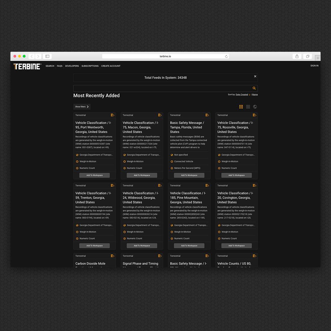Terbine.io Home Page